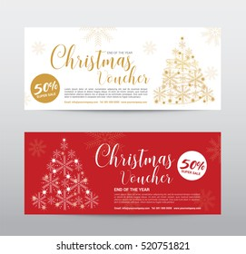 Gift Voucher for Merry Christmas, Snowfall christmas tree, Abstract Background, Ads Promote, Element Exotic, Vector illustration Design.