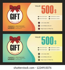 Gift Voucher with modern and adorable colorful design,