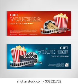 Gift voucher movie template modern pattern vector design