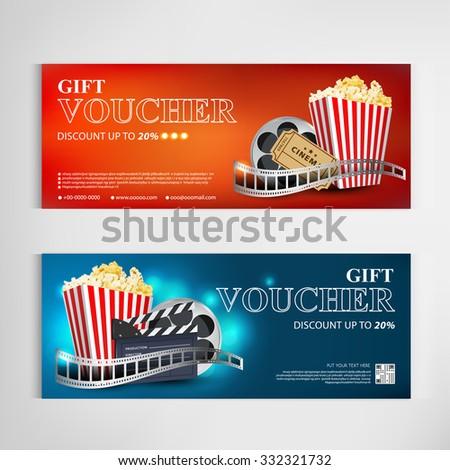 Gift Voucher Movie Template Modern Pattern Stock Vektorgrafik