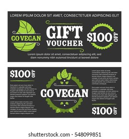 Gift voucher organic food with black background