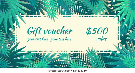 Gift voucher with palm leaves. Retro vector illustration. Place for your text. Can be used as invitation, poster, flyer, card, banner, frame