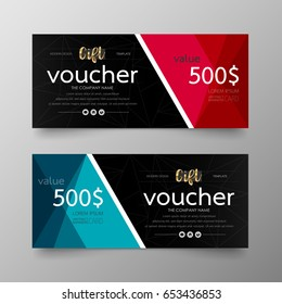 Gift voucher premium template on background vector modern value design and layout luxury.Cover leaflet elegant Illustration in horizontal pattern.