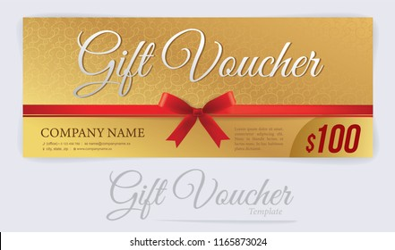 Gift voucher with red ribbons and bow, Gift coupon, Voucher template