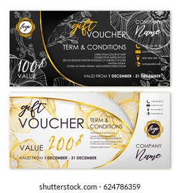 Gift voucher set in white and black with golden ribbon, halftone minimalist pattern, shadows. Card template, banner or coupon design, elegant concept, certificate background. Vector illustration.