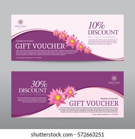 Gift Voucher for Spa Hotel Resort, Lotus Flowers Tropical Summer, Abstract Background Flora Healthcare, Ads Promote, Element Exotic, Vector illustration Design