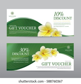 Gift Voucher for Spa Hotel Resort, Frangipani Flowers Tropical Summer, Abstract Background Flora Healthcare, Ads Promote, Element Exotic, Vector illustration Design