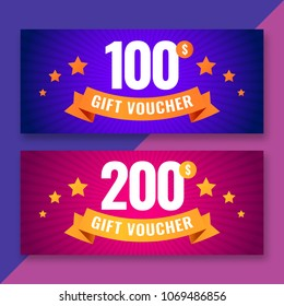 Gift voucher template, 100 and 200 dollars coupons, vector illustration