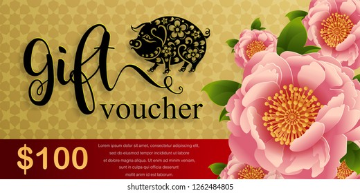 Gift voucher template for advertising happy chinese new year 2019 Zodiac sign with gold paper cut art and craft style on color Background.(Chinese Translation : Year of the pig)