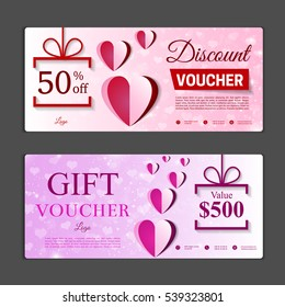 Gift voucher template. Can be use for shopping cards, discount coupon, banner, discount card , web design and other. Vector illustration. Valentines day design