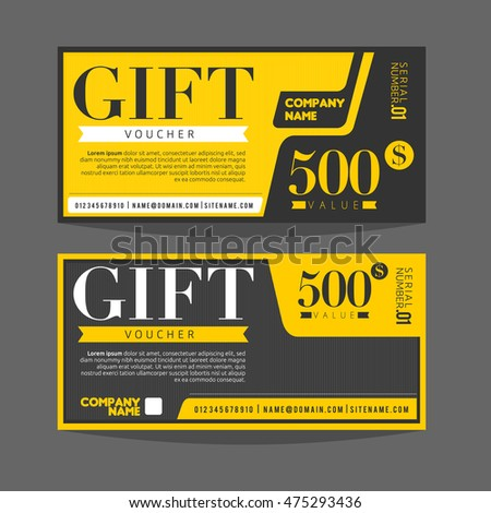 Gift Voucher Template Gift Certificate Coupon Stock Vector (Royalty ...