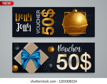 Gift Voucher Template for Christmas and New Year Discount Coupon Vector Illustration