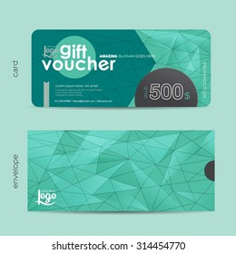 Gift voucher template with colorful pattern and envelope design with geometric pattern,cute gift voucher certificate coupon design template,,Vector illustration