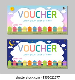 Gift voucher template with colorful pattern,cute gift voucher certificate coupon design template, kids voucher Vector illustration