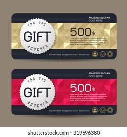 Gift voucher template with colorful pattern,cute gift voucher certificate coupon design template,Collection gift certificate business card banner calling card poster,Vector illustration