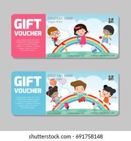 Gift Voucher Template Modern Pattern Kids Stock Vector HD (Royalty ...