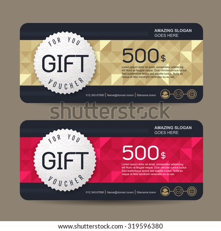 gift voucher template colorful patterncute gift stock vector
