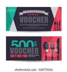 Food ticket images stock photos vectors shutterstock gift voucher template with colorful patternitalian restaurantgift voucher certificate coupon design template yelopaper Images