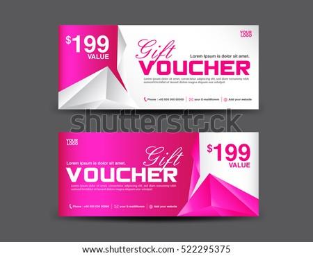 gift voucher template coupon design pink のベクター画像素材