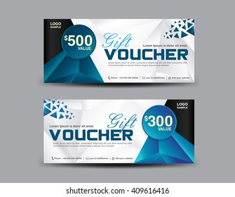 Gift Voucher template, coupon design,ticket,polygon background