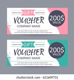 Gift voucher template. Discount certificate, gift card design, colorful coupon.