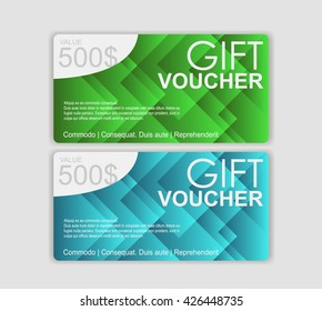 Gift voucher template. Discount voucher template with clean and modern design and place for your business related photos. Vector illustration.