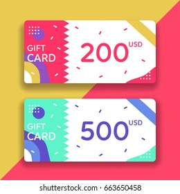 Gift voucher template. Flat style vector illustration.