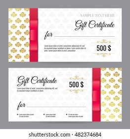 Gift Voucher template with floral pattern and red bow/ ribbons. Design usable for coupon, invitation, certificate, diploma, ticket etc. Vector illustration