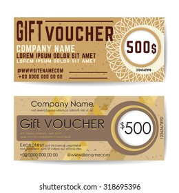 Gift Voucher Template. Flyer Simple Design Layout. Vector Illustration.