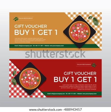 Gift Voucher Template Food Pizza Restaurant Stock Vector Royalty