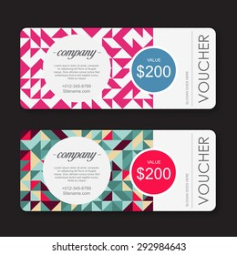 gift Voucher template with geometric colorful pattern.