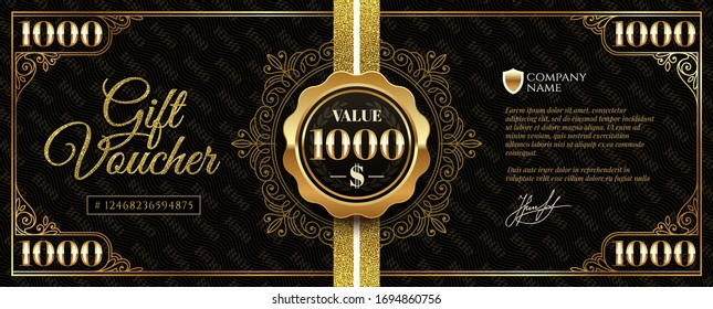 Gift voucher template with glitter gold elements.  Gift voucher value 1000 dollars with guilloche design element. Vector illustration.