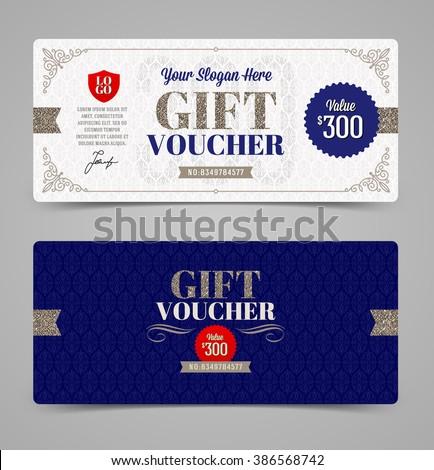 gift voucher template glitter silver vector stock vector royalty