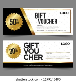 Gift Voucher template with gold and black. Background design