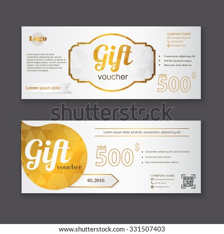 Gift Voucher Template Gold Pattern Certificate Stock Vector Royalty