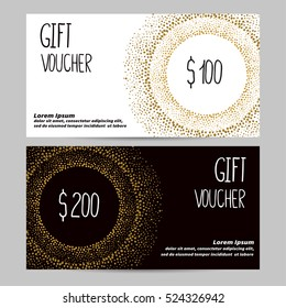 Gift voucher template in golden, black and white colors. Design concept for gift coupon, certificate, flyer, invitation, banner. Vector illustration
