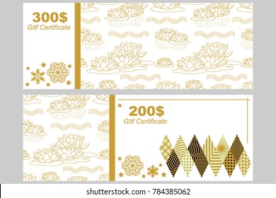 Gift voucher template. Golden floral ornament with water lilies on white background. Design for certificates, coupons, banners.