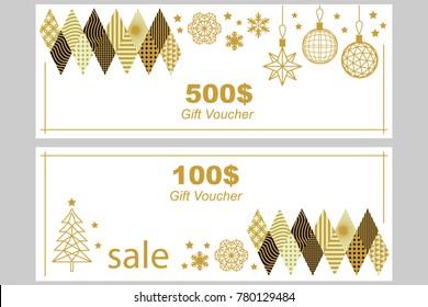 linear gift voucher template golden ornaments stock vector royalty