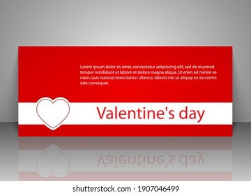Gift voucher template. Greeting card for Valentine Day