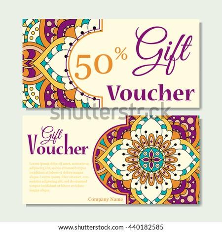 Gift Voucher Template Mandala Design Certificate Stock Vector