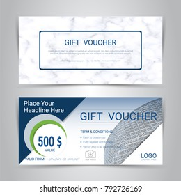 Gift voucher template with marble texture imitation background, Cover design for gift card, coupon and certificate with space for make an image of the products your company offers,Vector illustration.