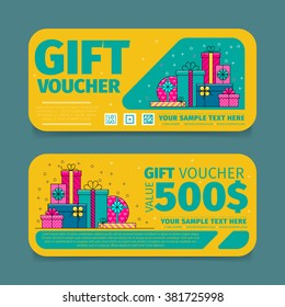 Gift voucher template with market special offer. Two side of discount voucher or gift certificate layout.