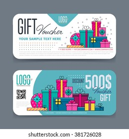 GIFT VOUCHER TEMPLATE. With market special offer. Two side of discount voucher or gift certificate layout.