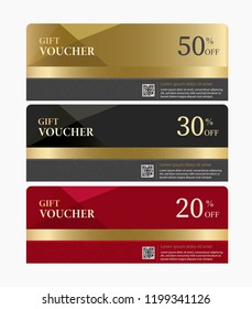 Gift Voucher template modern and elegant collection.Vector illustration. Set of Three difference colors. Gold for 50% discount, Black for 30% discount and Red for 20% discount.