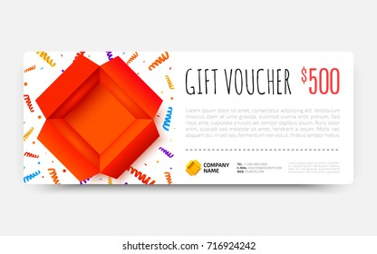Gift voucher template with open red box and colorful scattered confetti. Gift certificate, coupon design. Premium Voucher card for gift shop. Vector illustration