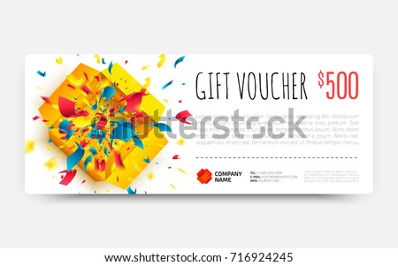 gift voucher template open surprise box stock vector royalty free