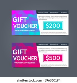 Gift voucher template with polygonal elements. Vector gift voucher design with abstract pattern.