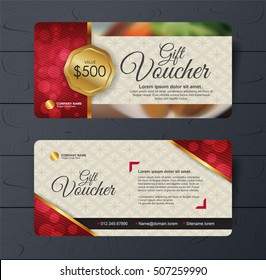 Gift voucher template with premium pattern and place for your business related photos.Restaurant. Vector illustration