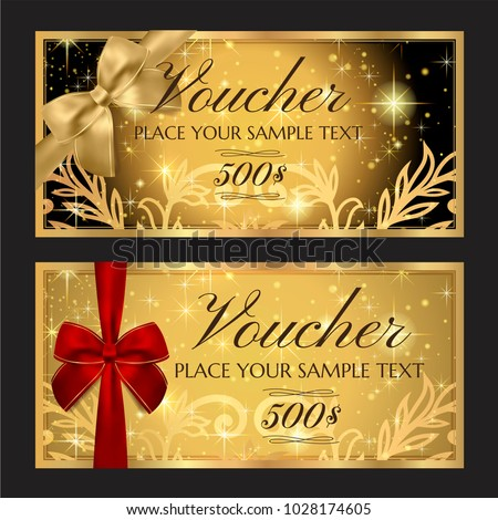Gift voucher template (printable Christmas gift certificate layout, Birthday Coupon template). Editable Gift card design examples with red ribbon vector ...