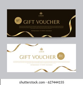 Gift Voucher Template Promotion Sale discount, Gold Glitter Ribbon background, vector illustration